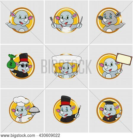 Cute Rhinoceros Head Circle Label Set, Yellow Colors Background, Cartoon, Mascot, Animals, Character