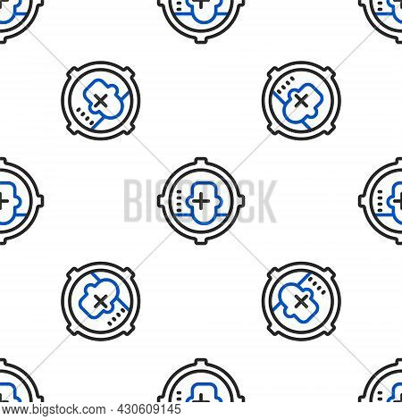 Line Headshot Icon Isolated Seamless Pattern On White Background. Sniper And Marksman Is Shooting On