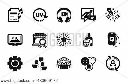 Vector Set Of Smile, Uv Protection And Headphones Icons Simple Set. Teamwork, User Info And Online V