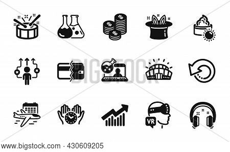 Vector Set Of Select Flight, Safe Time And Coins Icons Simple Set. Recovery Data, Drums And Sun Crea