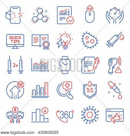 Science Icons Set. Included Icon As Decreasing Graph, Medical Analyzes, Checked Calculation Signs. B