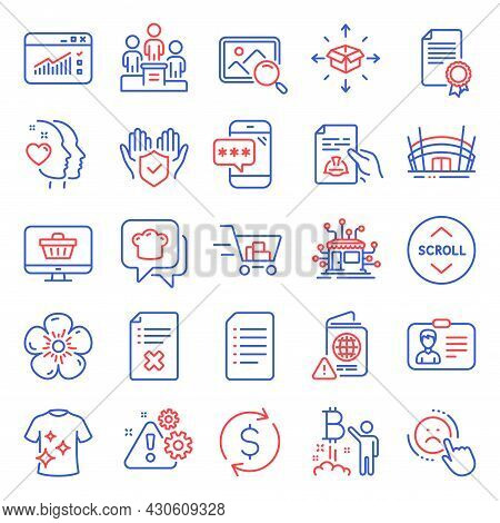 Business Icons Set. Included Icon As Clean T-shirt, Certificate, Reject File Signs. Dislike, Bitcoin