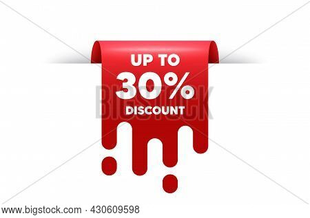 Up To 30 Percent Discount. Red Ribbon Tag Banner. Sale Offer Price Sign. Special Offer Symbol. Save