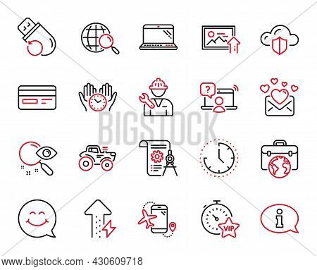 Vector Set Of Technology Icons Related To Flash Memory, Time And Tractor Icons. Businessman Case, Fl