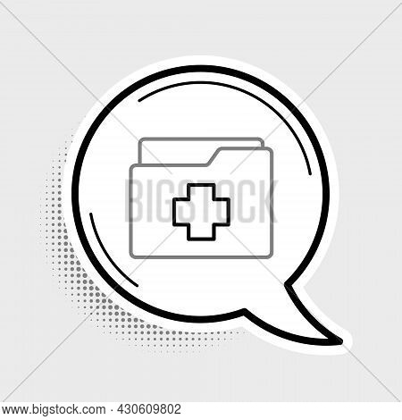 Line Medical Clipboard With Clinical Record Icon Isolated On Grey Background. Prescription, Medical