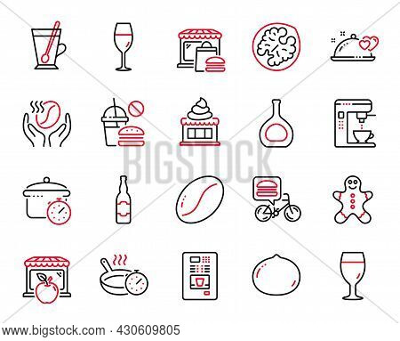 Vector Set Of Food And Drink Icons Related To Coffee Maker, Macadamia Nut And Romantic Dinner Icons.