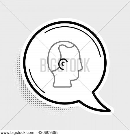 Line Baldness Icon Isolated On Grey Background. Alopecia. Colorful Outline Concept. Vector