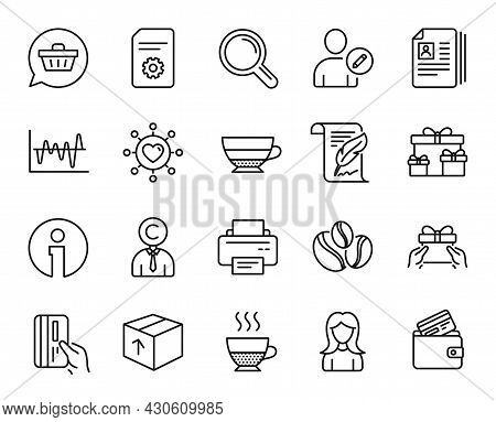 Vector Set Of Package, Stock Analysis And Shopping Cart Line Icons Set. Feather, Cv Documents And In