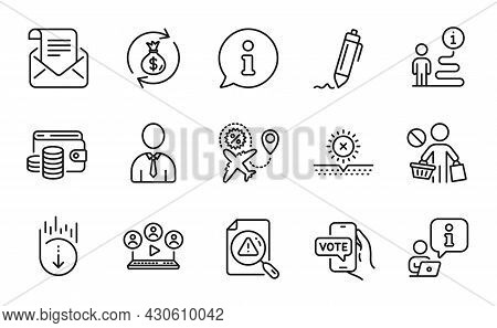 Business Icons Set. Included Icon As Money Exchange, Scroll Down, Online Voting Signs. Mail Newslett