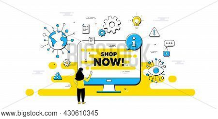 Shop Now Text. Internet Safe Data Infographics. Special Offer Sign. Retail Advertising Symbol. Shop