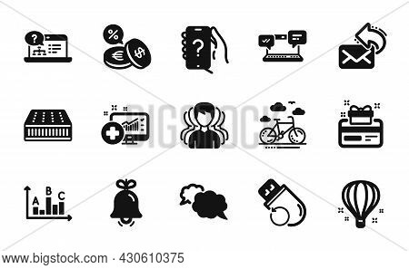 Vector Set Of Medical Analytics, Internet Chat And Bike Rental Icons Simple Set. Ask Question, Curre
