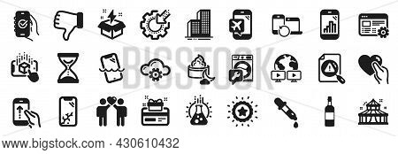 Set Of Business Icons, Such As Smartphone Broken, Chemistry Pipette, Time Hourglass Icons. Flight Mo