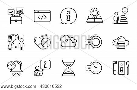 Science Icons Set. Included Icon As Sun Energy, Fast Recovery, Covid Test Signs. Time, Electronic Th