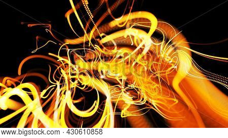 Beautiful Curls. 3d Render. Abstract Beautiful Background Of Glowing Yellow Flow Of Lines Made Of Pa