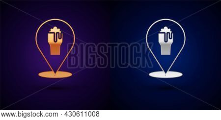 Gold And Silver Alcohol Or Beer Bar Location Icon Isolated On Black Background. Symbol Of Drinking,