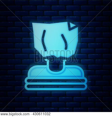 Glowing Neon Kidnaping Icon Isolated On Brick Wall Background. Human Trafficking Concept. Abduction