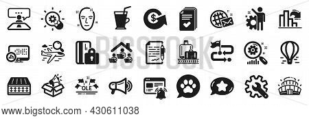 Set Of Business Icons, Such As Interview Job, Report Statistics, Innovation Icons. Coffee Cup, Searc