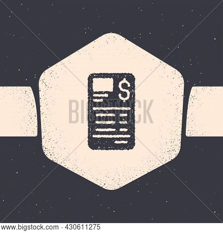 Grunge Paper Or Financial Check Icon Isolated On Grey Background. Paper Print Check, Shop Receipt Or
