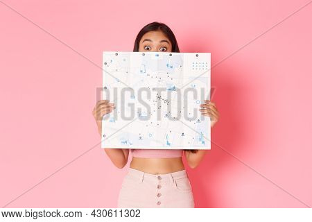 Travelling, Lifestyle And Tourism Concept. Portrait Of Cute And Excited Asian Girl Explore New Count