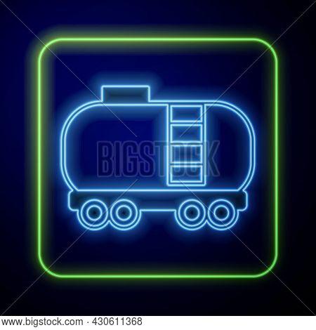 Glowing Neon Oil Railway Cistern Icon Isolated On Blue Background. Train Oil Tank On Railway Car. Ra