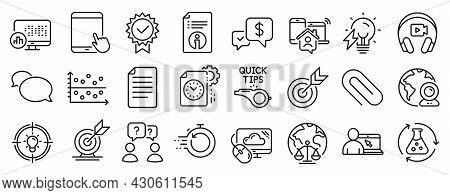 Set Of Education Icons, Such As Headphones, Target, Fast Recovery Icons. Payment Received, Video Con