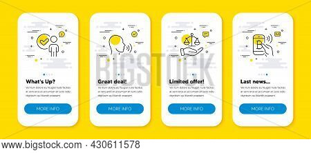 Vector Set Of Justice Scales, Human Sing And Verification Person Line Icons Set. Ui Phone App Screen