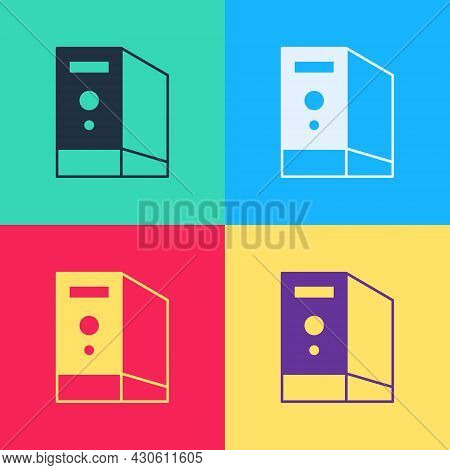 Pop Art Case Of Computer Icon Isolated On Color Background. Computer Server. Workstation. Vector