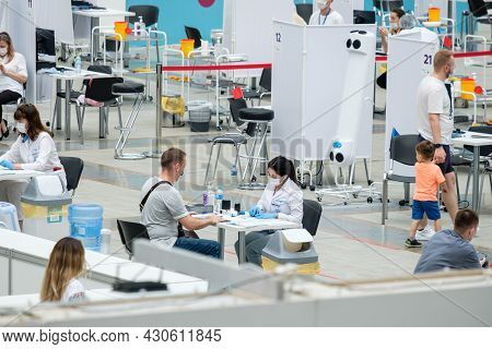 Moscow. Russia. 01 August 2021. Reception Of Patients At A Modern Coronavirus Vaccination Center In