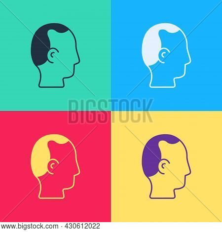 Pop Art Baldness Icon Isolated On Color Background. Alopecia. Vector