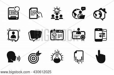 Vector Set Of Chemistry Experiment, Start Business And Hold Document Icons Simple Set. Recovery Ssd,