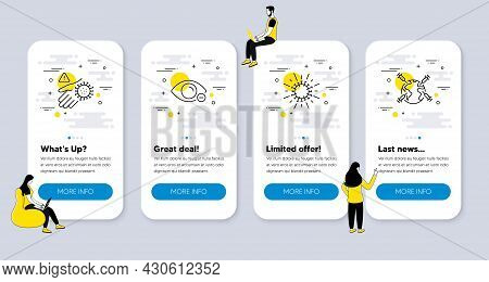Vector Set Of Medical Icons Related To Wash Hand, Coronavirus And Myopia Icons. Ui Phone App Screens