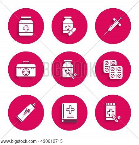 Set Medicine Bottle And Pills, Medical Book, Pills Blister Pack, Ointment Cream Tube Medicine, First