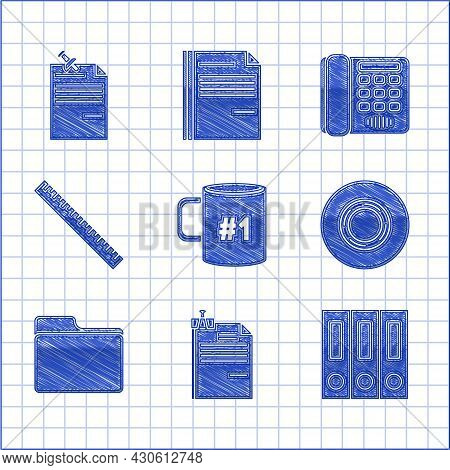 Set Coffee Cup Flat, File Document And Binder Clip, Office Folders With Papers Documents, Scotch, Do