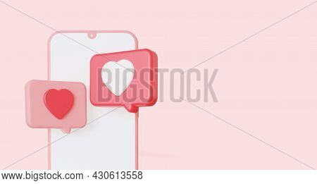 Speech Bubble Like Heart Dialog On Mobile Phone. 3d Rendering. With Copy Space.