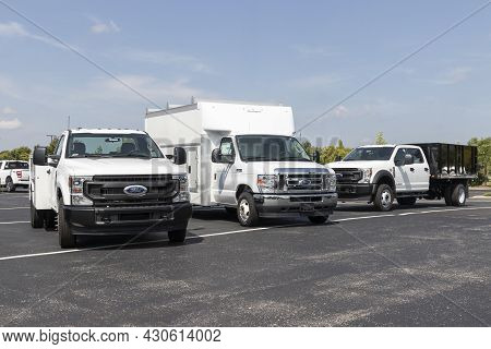 Indianapolis - Circa August 2021: Ford F-350, E-350 And F-450 Super Duty Trucks. Ford F-series Are T