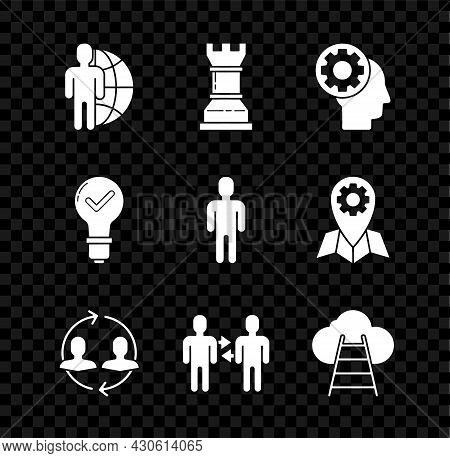 Set Globe And People, Business Strategy, Human Head With Gear Inside, Resources, Project Team Base,
