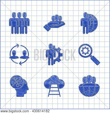 Set Human With Gear Inside, Ladder Leading To Cloud, Globe And People, Magnifying Glass, Head Puzzle
