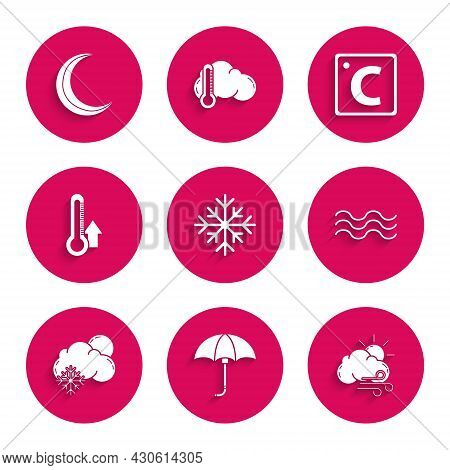 Set Snowflake, Classic Elegant Opened Umbrella, Windy Weather, Waves, Cloud With Snow And Sun, Therm