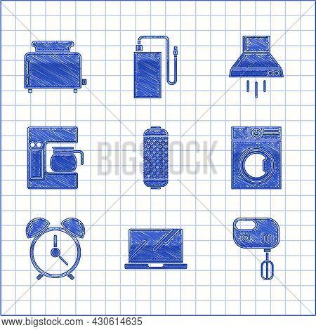 Set Stereo Speaker, Laptop, Electric Mixer, Washer, Alarm Clock, Coffee Machine With Glass Pot, Kitc