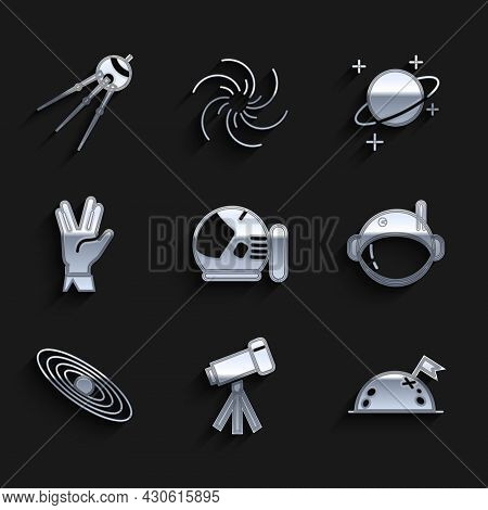 Set Astronaut Helmet, Telescope, Planet With Flag, Vulcan Salute, And Satellite Icon. Vector