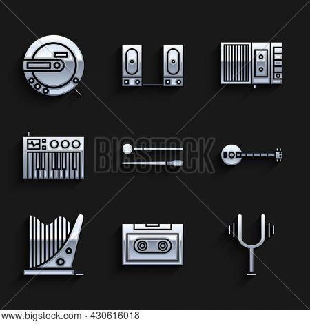 Set Drum Sticks, Retro Audio Cassette Tape, Musical Tuning Fork, Banjo, Harp, Synthesizer, Player An
