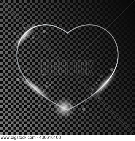Silver Glowing Heart Shape Frame  With Sparkles Isolated On Dark Transparent Background. Shiny Frame