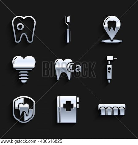 Set Calcium For Tooth, Clipboard With Dental Card, Dentures Model, Tooth Drill, Dental Protection, I
