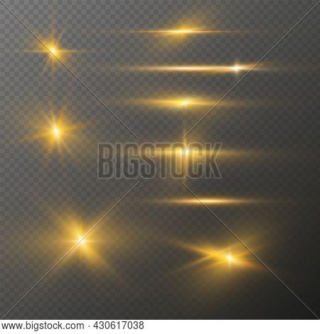 Set Of Realistic Light Glare, Highlight. Collection Of Beautiful Bright Lens Flares. Lighting Effect