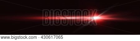 Vector Realistic Red Light Glare, Highlight. Beautiful Bright Lens Flare. Lighting Effect Of Flash.