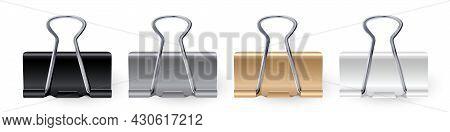 Vector Realistic Paper Clips Set Black White Gold Silver Binder Clip Paper Holder