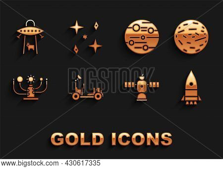 Set Mars Rover, Planet Venus, Rocket Ship, Satellite, Solar System, Ufo Abducts Cow And Falling Star