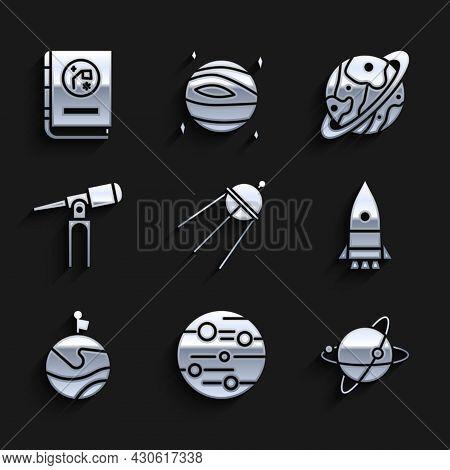 Set Satellite, Planet Mars, Satellites Orbiting The Planet Earth, Rocket Ship, Moon With Flag, Teles