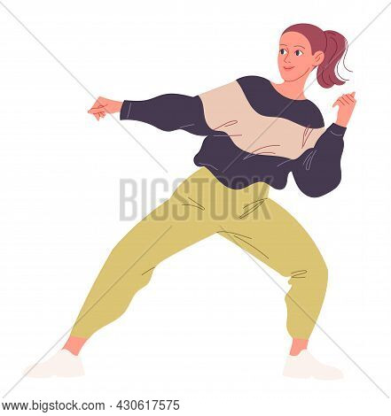 Girl Passionately Dancing Contemporary Dance. Vector Illustration