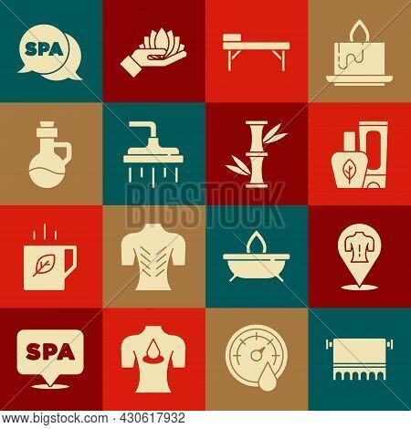 Set Towel On Hanger, Massage, Ointment Cream Tube, Table, Shower Head, Essential Oil Bottle, Spa Sal
